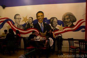 Obama et autres hommes politiques en peinture