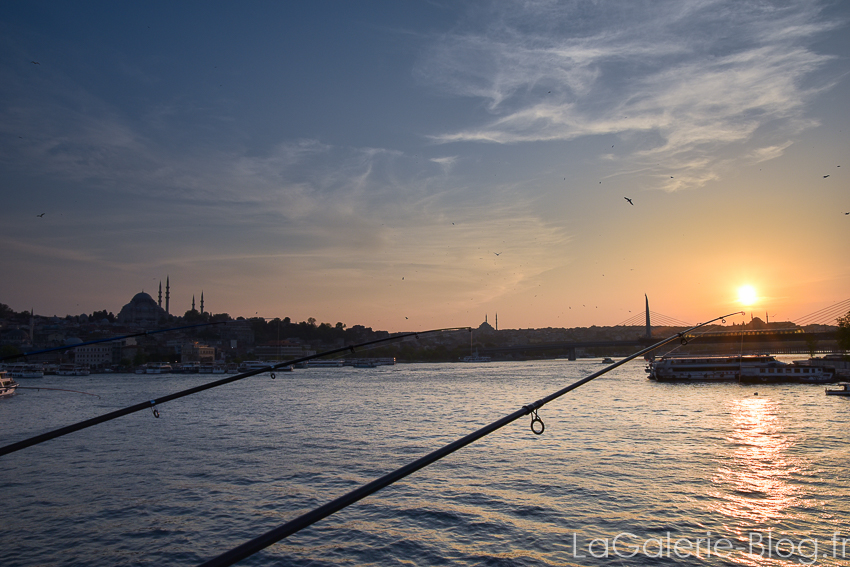 cannes a peche sur le bosphore au coucher du soleil - Istanbul